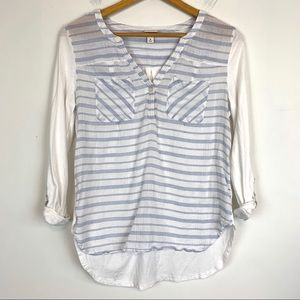 Merona Top Shirt Striped Medium High-low AB19